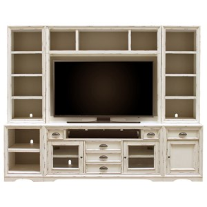 6 Piece Entertainment Wall with Display and Storage Shelving