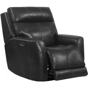 Leather Match Power Recliner with Power Headrest and Power Lumbar Support