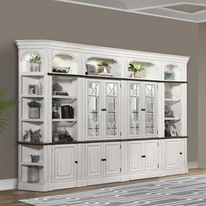 Relaxed Vintage Library Wall Unit with Display Lighting