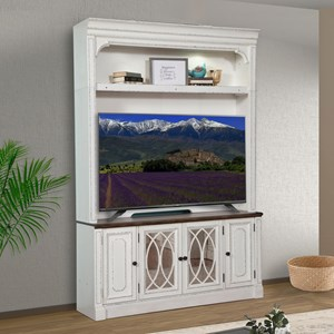 Relaxed Vintage TV Stand with Hutch and Power Center and Display Lighting