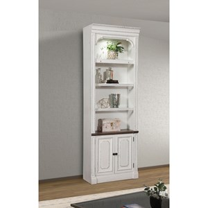 Relaxed Vintage 32 in. Open Top Bookcase with Display Lighting