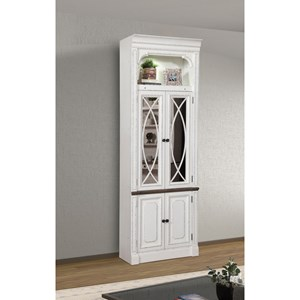 Relaxed Vintage 32 in. Glass Door Cabinet with Display Lighting