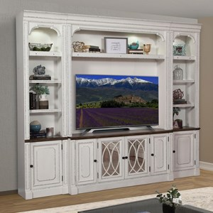 Relaxed Vintage Entertainment Wall Unit with Display Lighting