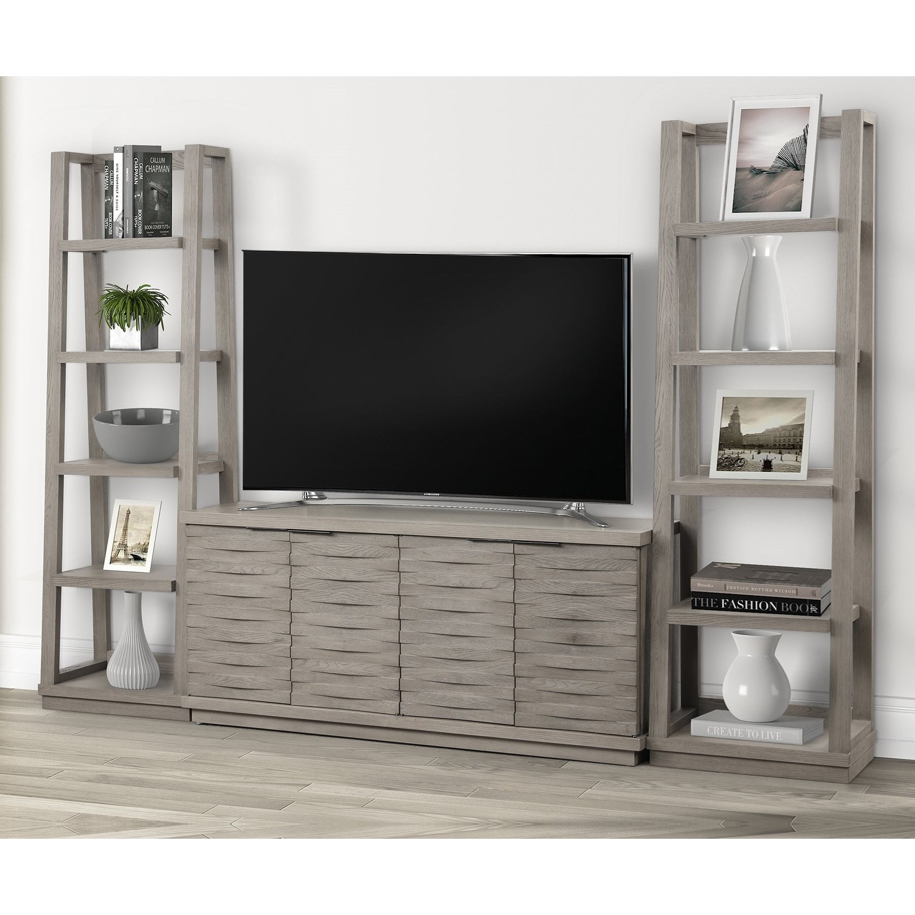 Pure Modern 63 in. Console w/ Pair of Angled Etageres by Parker House at Zak's Home
