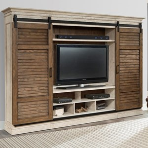 Entertainment Wall with Sliding Shutter Doors