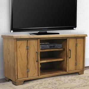 Rustic 63 Inch TV Console with Metal Accents