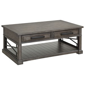 Transitional 2-Drawer Cocktail Table with Casters