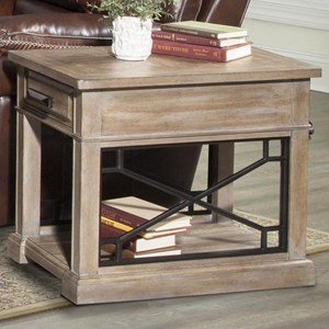 Transitional 1-Drawer Chairside Table with Outlet and USB Ports