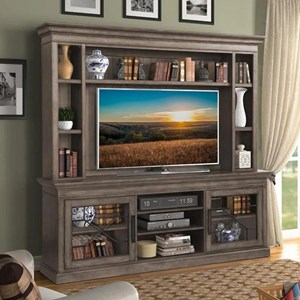 """Transitional 92"""" Console with Hutch with Touch Lighting"""