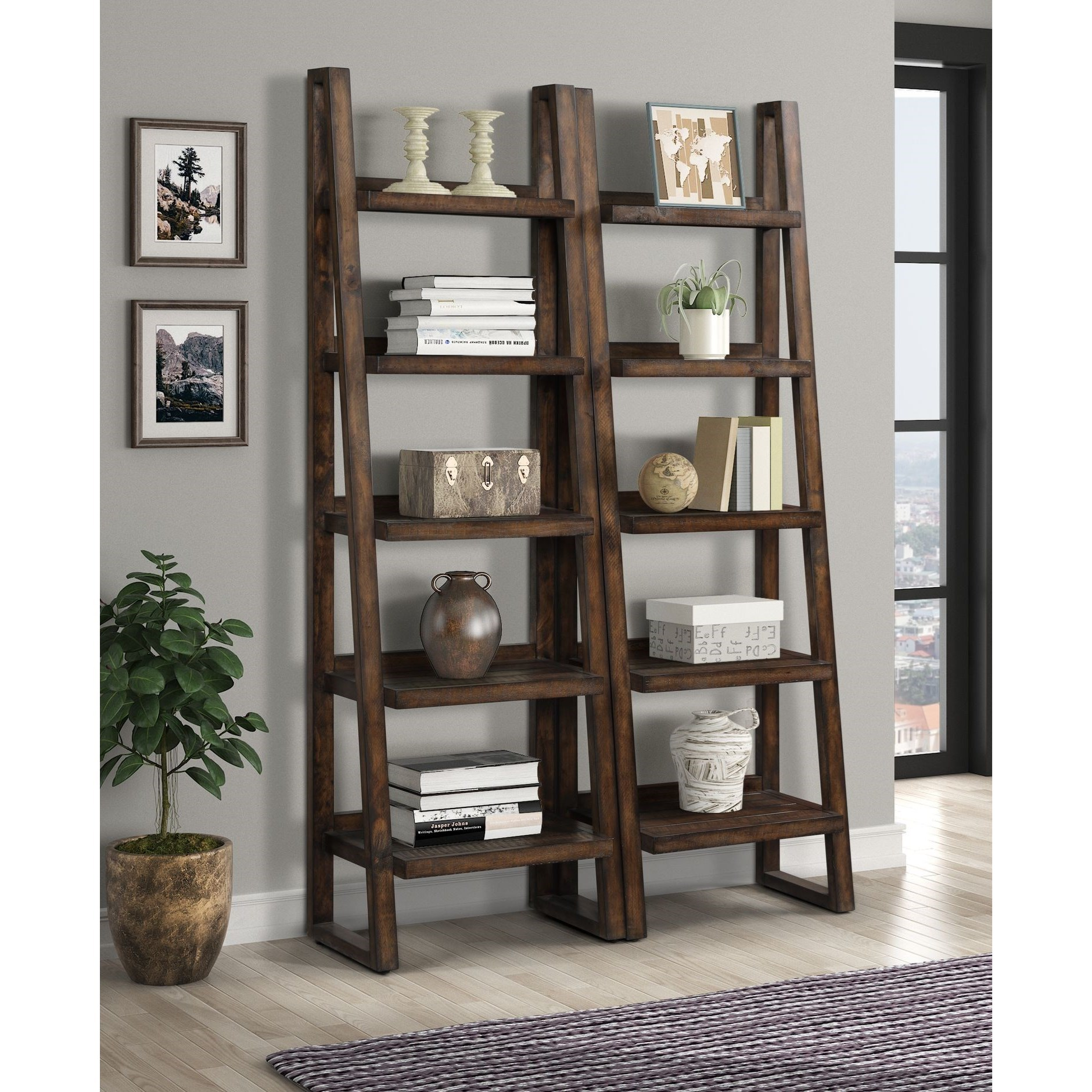 Tempe Pair of Etagere Bookcases by Parker House at Dream Home Interiors