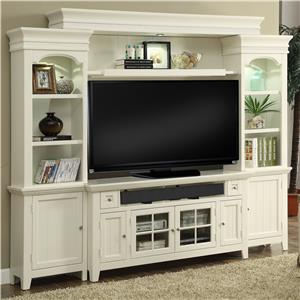 "62"" Console Entertainment Wall with Display Lighting and Shelf Storage"