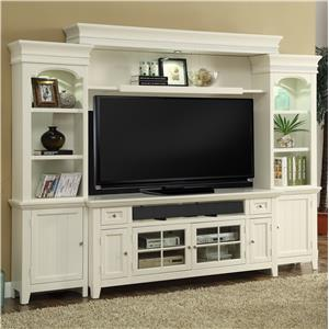 "72"" Console Entertainment Wall with Display Lighting and Shelf Storage"