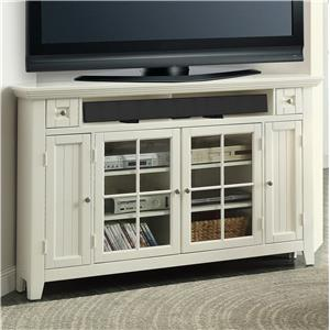 "62"" Corner TV Console with Four Doors and Two Shelves"