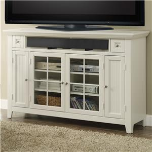 "62"" Tall TV Console with Glass Doors and Two Drawers"