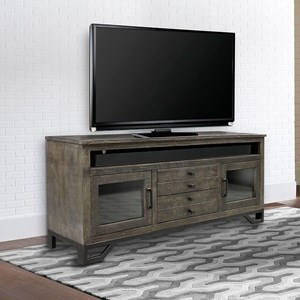Transitional 76 Inch TV Console with Glass Doors