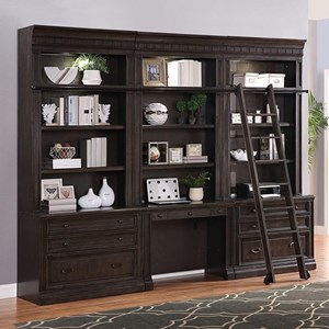 Bookcase Wall Unit with Desk and Sliding Ladder