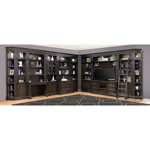 Library Wall Unit with TV Stand and Sliding Ladder