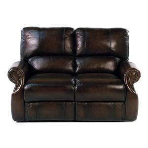 Traditional Dual Power Reclining Love Seat with Rolled Arms