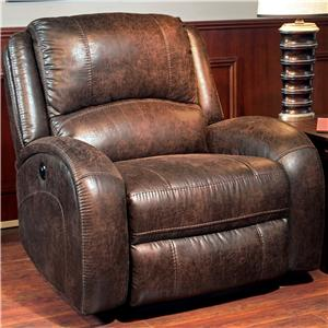 Traditional Lay Flat Power Recliner with Curved Track Arms