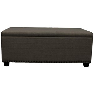 Transitional Upholstered Storage Bench with Nailhead Trim