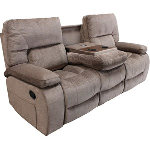 Casual Dual Reclining Sofa with Drop Down Center Console Cupholders