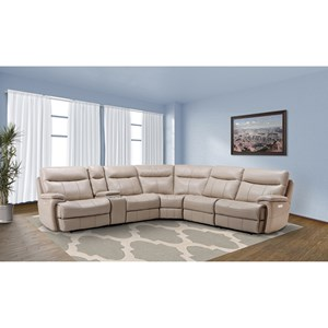Casual Reclining Sectional Sofa with Storage Console