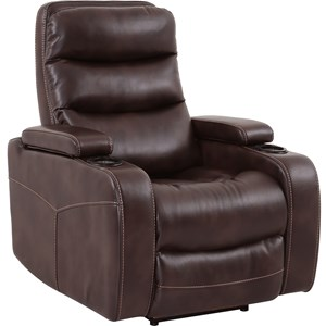 Contemporary Home Theater Power Recliner with Cup Holders and In-Arm Storage