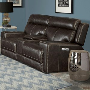 Contemporary Dual Power Reclining Console Loveseat with USB Ports