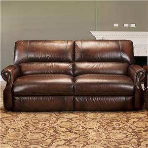 Traditional Dual Power Reclining Sofa with Rolled Arms