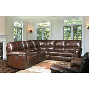 Leather Match Power Reclining Sectional Group