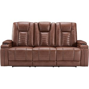 Contemporary Power Reclining Drop Down Console Sofa with Built-In Outlets and USB Ports