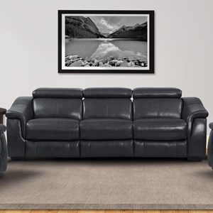Contemporary Power Reclining Modular Sofa with Ratchet Headrests