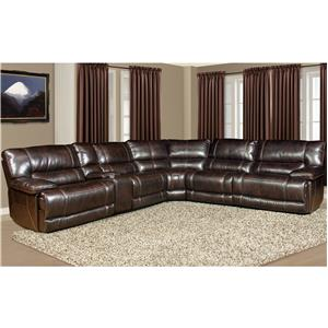 5 Seater Power Reclining Sectional Sofa with Cup Holder Console and Large Pillow Arms