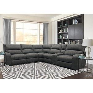 Contemporary Power Reclining Sectional with Power Headrests and USB Charging Ports