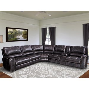 Casual Power Reclining Sectional Sofa with Power Headrests and USB Ports