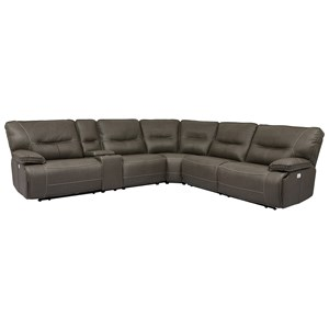 Reclining Sectional with Power Headrests and USB Ports