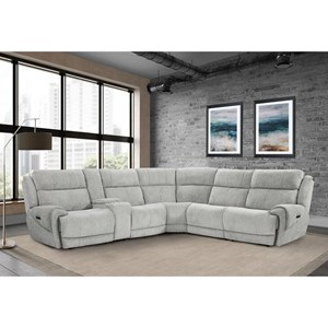 Casual Power Reclining Sectional with Adjustable Headrest and USB Ports