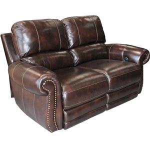Traditional Power Reclining Love Seat with Nail Head Trim