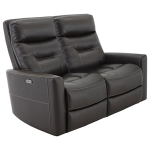 Contemporary Power Reclining Loveseat with Articulating Headrests and USB Ports