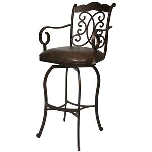 "26"" Athena Counter Height Swivel Stool with Decorative Swirl Back & Arms"