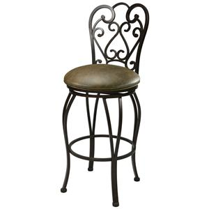 "30"" Bar Height Autumn Rust Metal Bar Stool with Curved Back"