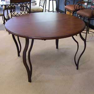 """48"""" Round Wood and Metal Table"""