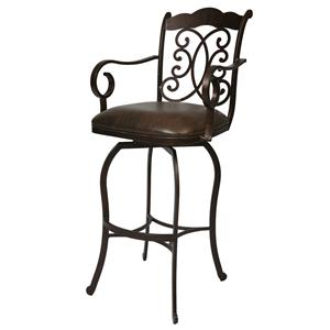 "Pastel Minson Iron Barstools Athena 26"" Swivel Barstool with Arms"