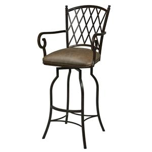 "Pastel Minson Iron Barstools Atrium 26"" Swivel Barstool with Arms"