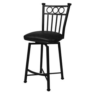 "Pastel Minson Iron Barstools Bostonian 26"" Swivel Barstool in Matte Black"