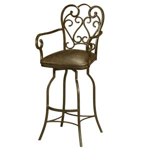 "Pastel Minson Iron Barstools Magnolia 26"" Swivel Barstool with Arms"