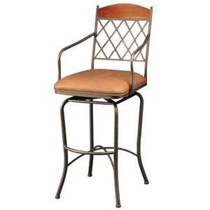 "Pastel Minson Iron Barstools Napa Ridge 26"" Swivel Barstool in Bronze"