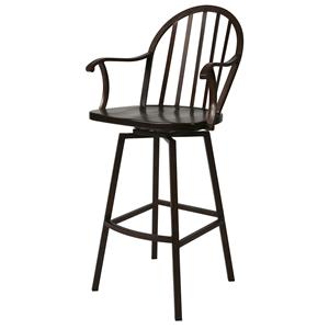 "Pastel Minson Iron Barstools Windsor 26"" Swivel Barstool with Arms"