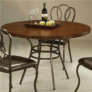 """Pastel Minson Oxford Dining Table with 45"""" Hammered Metal Top"""