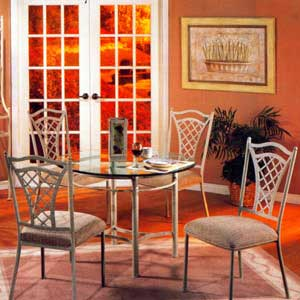 "Pastel Minson Waverly 42"" Round Glass Table and Four Metal Chairs"